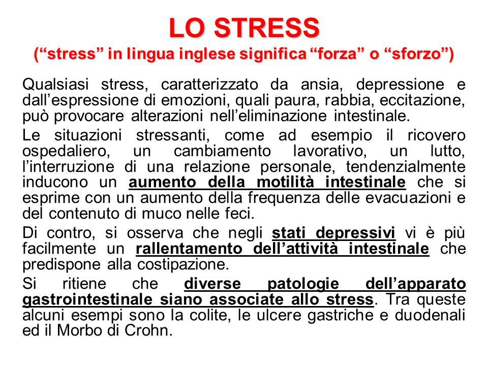 LO STRESS (stress in lingua inglese significa forza o sforzo) Qualsiasi stress, caratterizzato da ansia, depressione e dallespressione di emozioni, qu