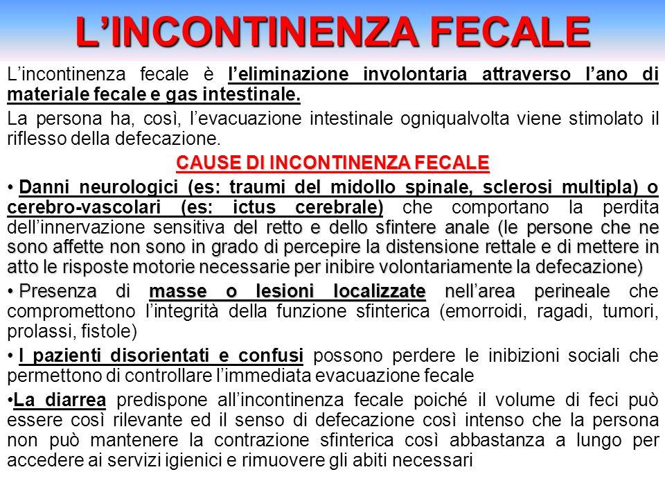 LINCONTINENZA FECALE Lincontinenza fecale è leliminazione involontaria attraverso lano di materiale fecale e gas intestinale. La persona ha, così, lev