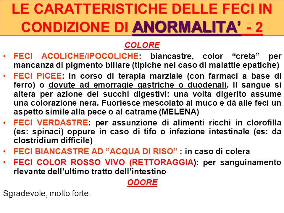 COLORE FECI ACOLICHE/IPOCOLICHE: biancastre, color creta per mancanza di pigmento biliare (tipiche nel caso di malattie epatiche) FECI PICEE: in corso