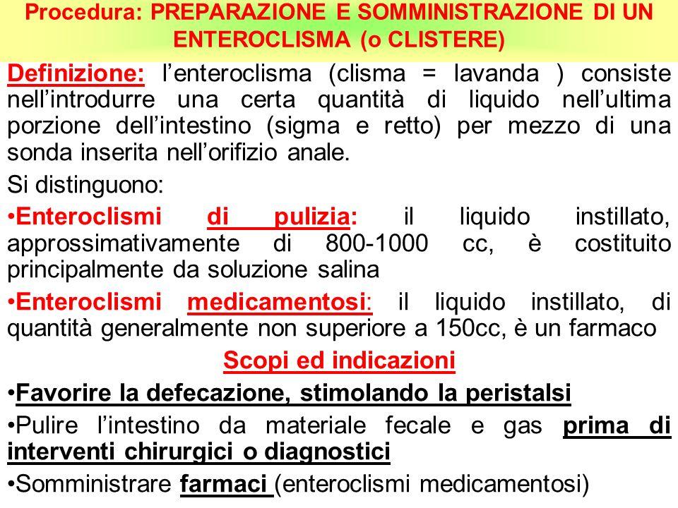 Procedura: PREPARAZIONE E SOMMINISTRAZIONE DI UN ENTEROCLISMA (o CLISTERE) Definizione: lenteroclisma (clisma = lavanda ) consiste nellintrodurre una
