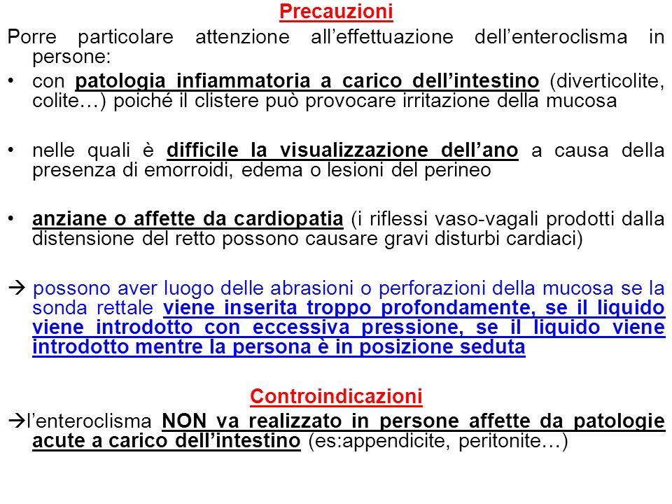 Precauzioni Porre particolare attenzione alleffettuazione dellenteroclisma in persone: con patologia infiammatoria a carico dellintestino (diverticoli