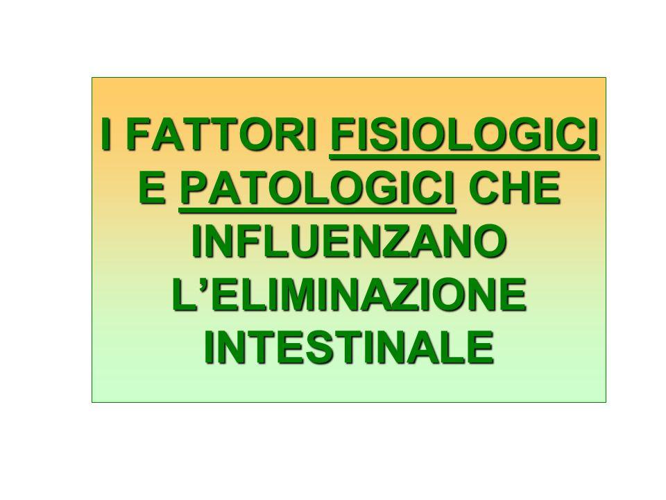 I FATTORI FISIOLOGICI E PATOLOGICI CHE INFLUENZANO LELIMINAZIONE INTESTINALE