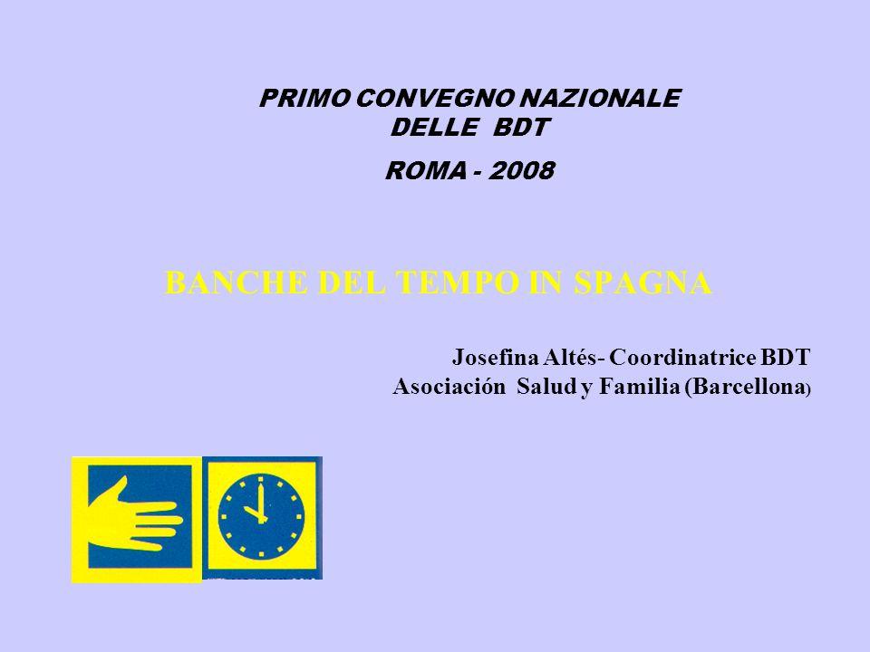 BANCHE DEL TEMPO IN SPAGNA Josefina Altés- Coordinatrice BDT Asociación Salud y Familia (Barcellona ) PRIMO CONVEGNO NAZIONALE DELLE BDT ROMA - 2008