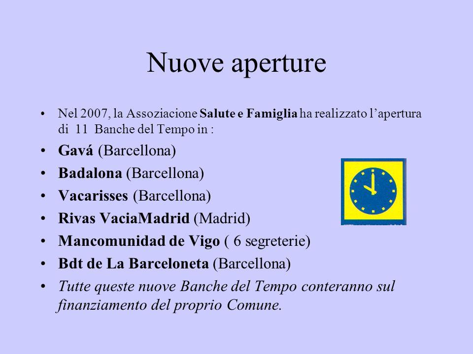 Nuove aperture Nel 2007, la Assoziacione Salute e Famiglia ha realizzato lapertura di 11 Banche del Tempo in : Gavá (Barcellona) Badalona (Barcellona) Vacarisses (Barcellona) Rivas VaciaMadrid (Madrid) Mancomunidad de Vigo ( 6 segreterie) Bdt de La Barceloneta (Barcellona) Tutte queste nuove Banche del Tempo conteranno sul finanziamento del proprio Comune.