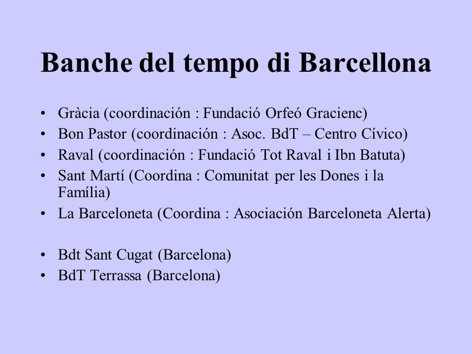 Banche del tempo di Barcellona Gràcia (coordinación : Fundació Orfeó Gracienc) Bon Pastor (coordinación : Asoc.