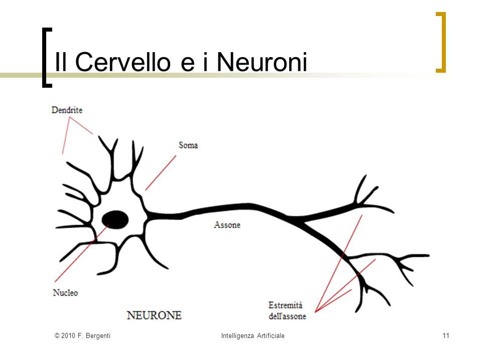 © 2010 F. BergentiIntelligenza Artificiale11 Il Cervello e i Neuroni