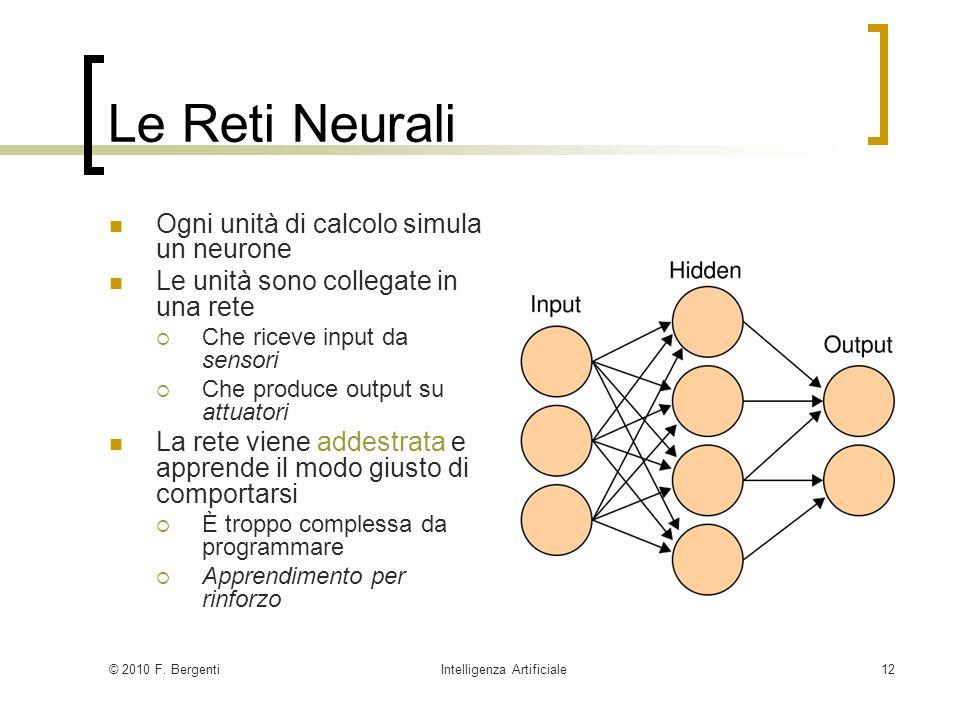 © 2010 F. BergentiIntelligenza Artificiale12 Le Reti Neurali Ogni unità di calcolo simula un neurone Le unità sono collegate in una rete Che riceve in