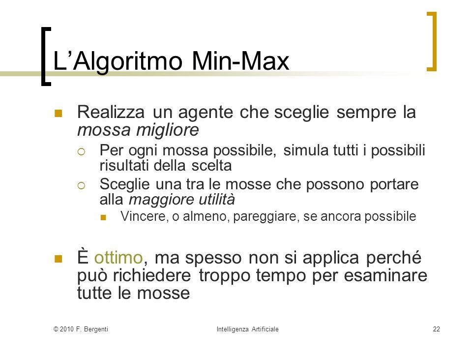 © 2010 F. BergentiIntelligenza Artificiale22 LAlgoritmo Min-Max Realizza un agente che sceglie sempre la mossa migliore Per ogni mossa possibile, simu