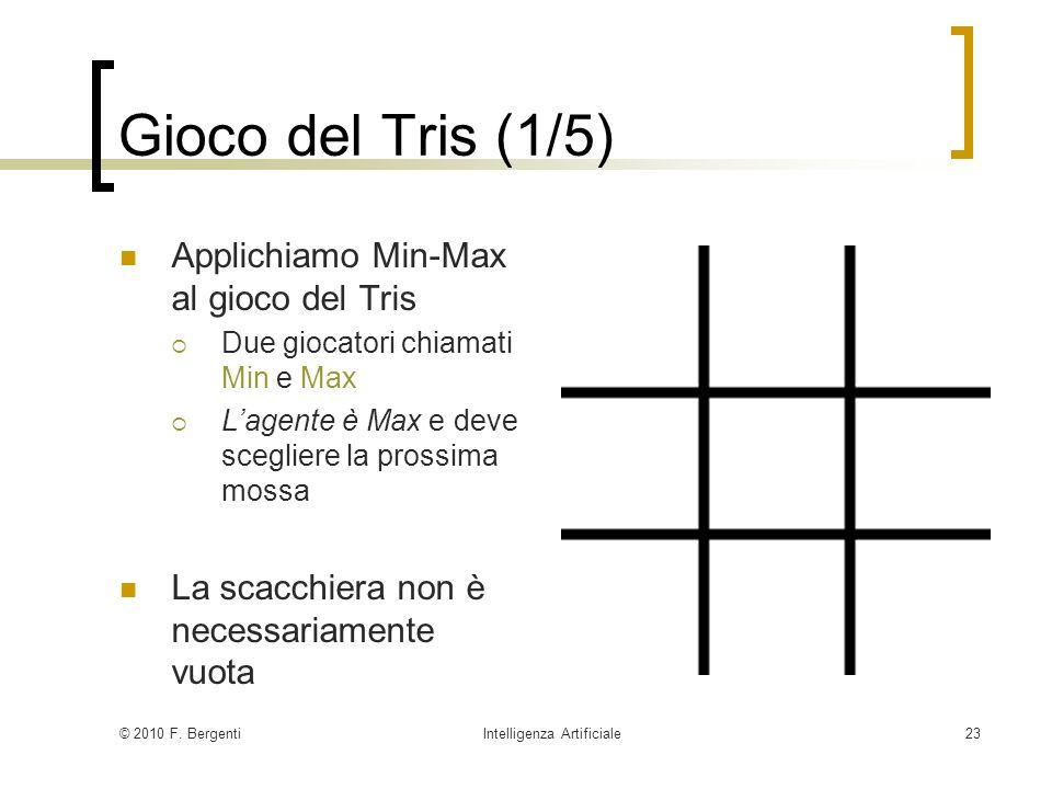 © 2010 F. BergentiIntelligenza Artificiale23 Gioco del Tris (1/5) Applichiamo Min-Max al gioco del Tris Due giocatori chiamati Min e Max Lagente è Max