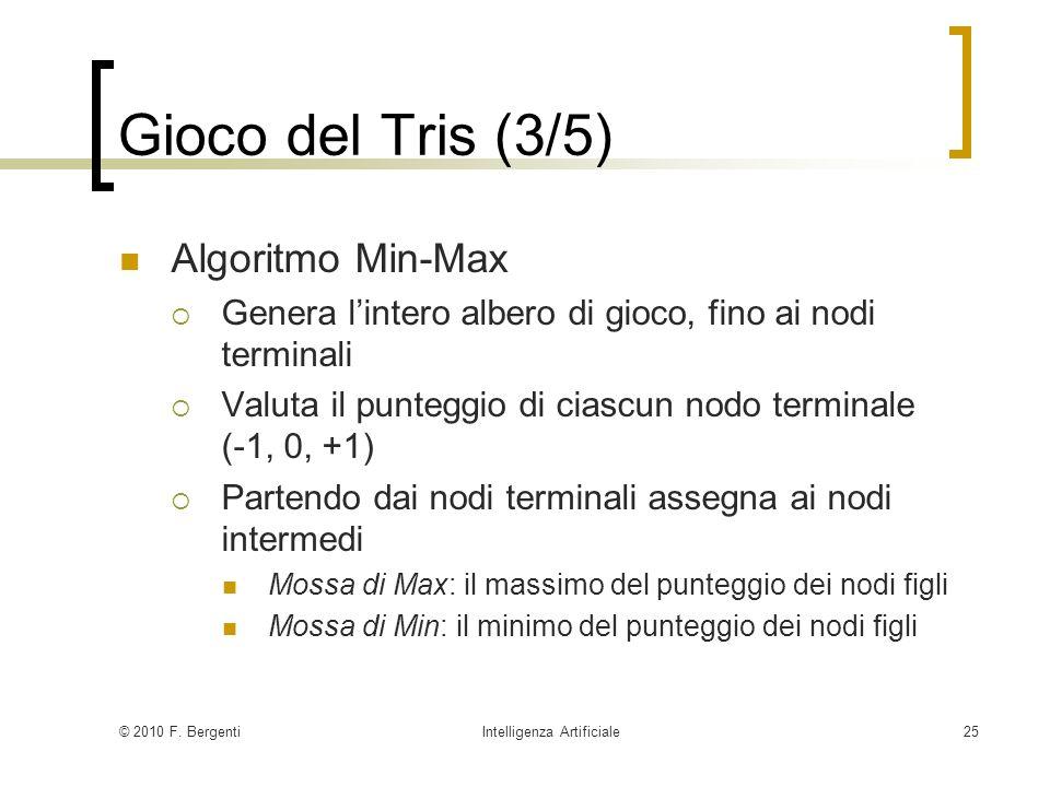 © 2010 F. BergentiIntelligenza Artificiale25 Gioco del Tris (3/5) Algoritmo Min-Max Genera lintero albero di gioco, fino ai nodi terminali Valuta il p