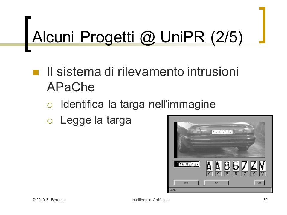 © 2010 F. BergentiIntelligenza Artificiale30 Alcuni Progetti @ UniPR (2/5) Il sistema di rilevamento intrusioni APaChe Identifica la targa nellimmagin