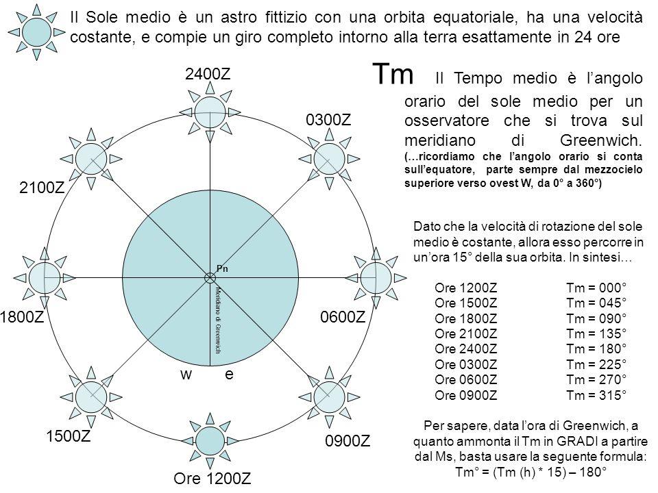 Pn Meridiano di Greenwich Il Sole medio è un astro fittizio con una orbita equatoriale, ha una velocità costante, e compie un giro completo intorno al