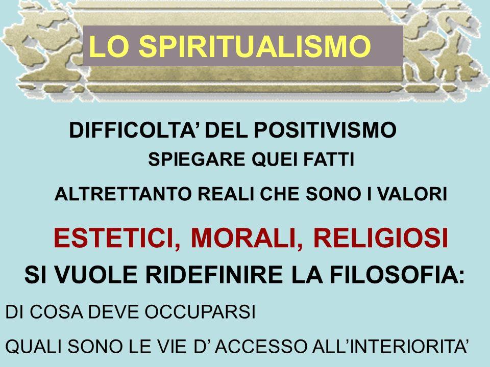 LO SPIRITUALISMO DIFFICOLTA DEL POSITIVISMO SPIEGARE QUEI FATTI ALTRETTANTO REALI CHE SONO I VALORI ESTETICI, MORALI, RELIGIOSI SI VUOLE RIDEFINIRE LA FILOSOFIA: DI COSA DEVE OCCUPARSI QUALI SONO LE VIE D ACCESSO ALLINTERIORITA