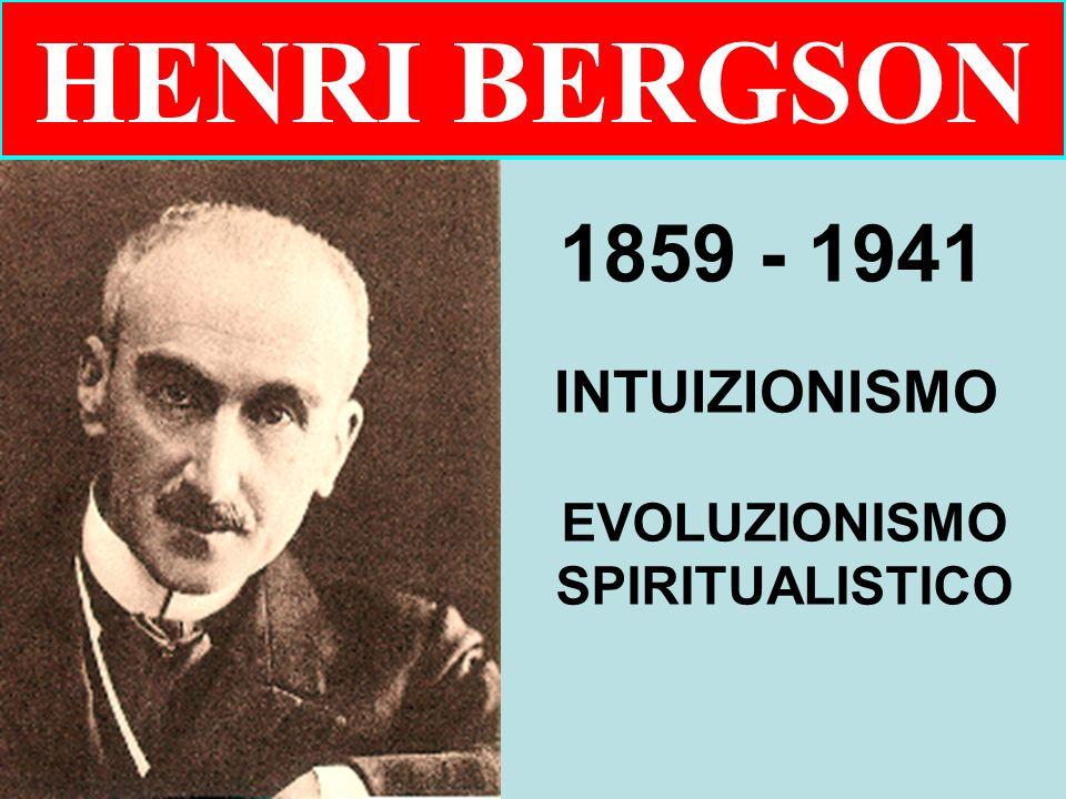 HENRI BERGSON 1859 - 1941 INTUIZIONISMO EVOLUZIONISMO SPIRITUALISTICO