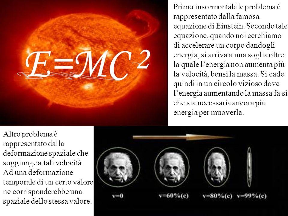 Primo insormontabile problema è rappresentato dalla famosa equazione di Einstein. Secondo tale equazione, quando noi cerchiamo di accelerare un corpo