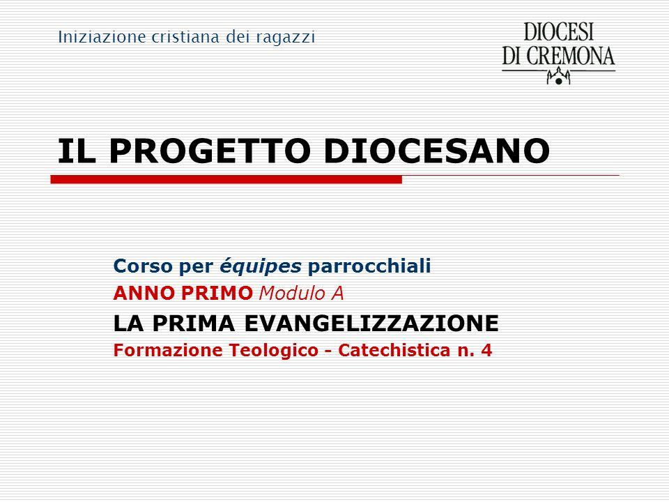 IL PROGETTO DIOCESANO Corso per équipes parrocchiali ANNO PRIMO Modulo A LA PRIMA EVANGELIZZAZIONE Formazione Teologico - Catechistica n. 4 Iniziazion