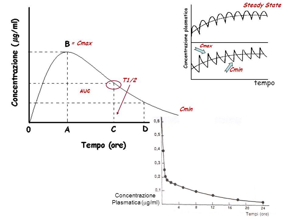 Relazione esemplificativa tra concentrazione plasmatica e tempo, dopo una singola dose orale di un farmaco ipotetico.