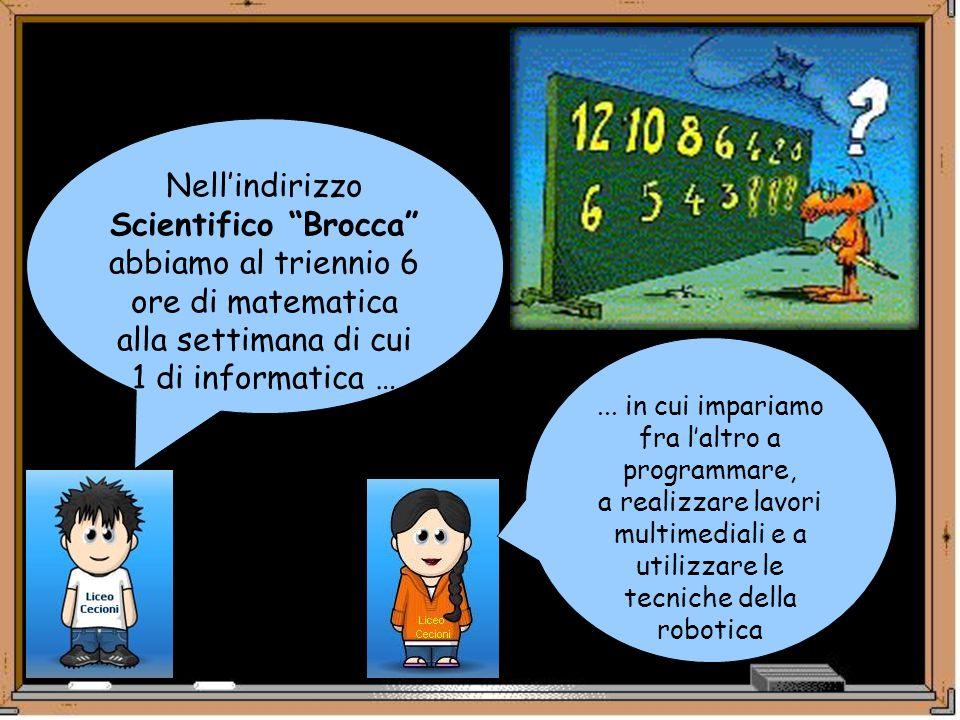 Nellindirizzo Scientifico Brocca abbiamo al triennio 6 ore di matematica alla settimana di cui 1 di informatica …... in cui impariamo fra laltro a pro