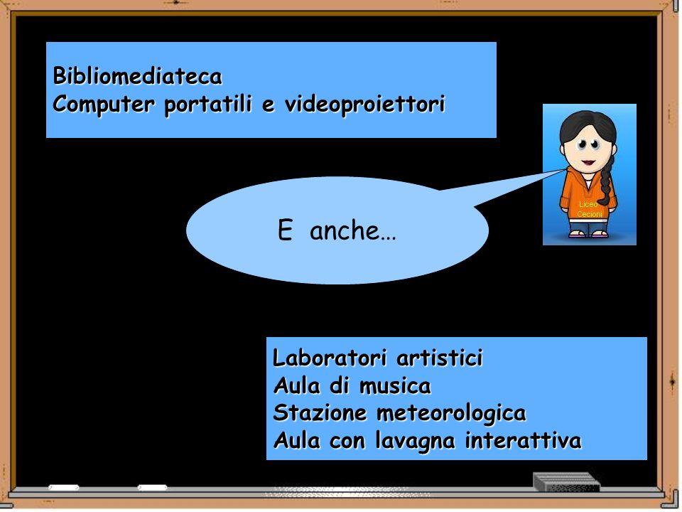 E anche… Bibliomediateca Computer portatili e videoproiettori Laboratori artistici Aula di musica Stazione meteorologica Aula con lavagna interattiva
