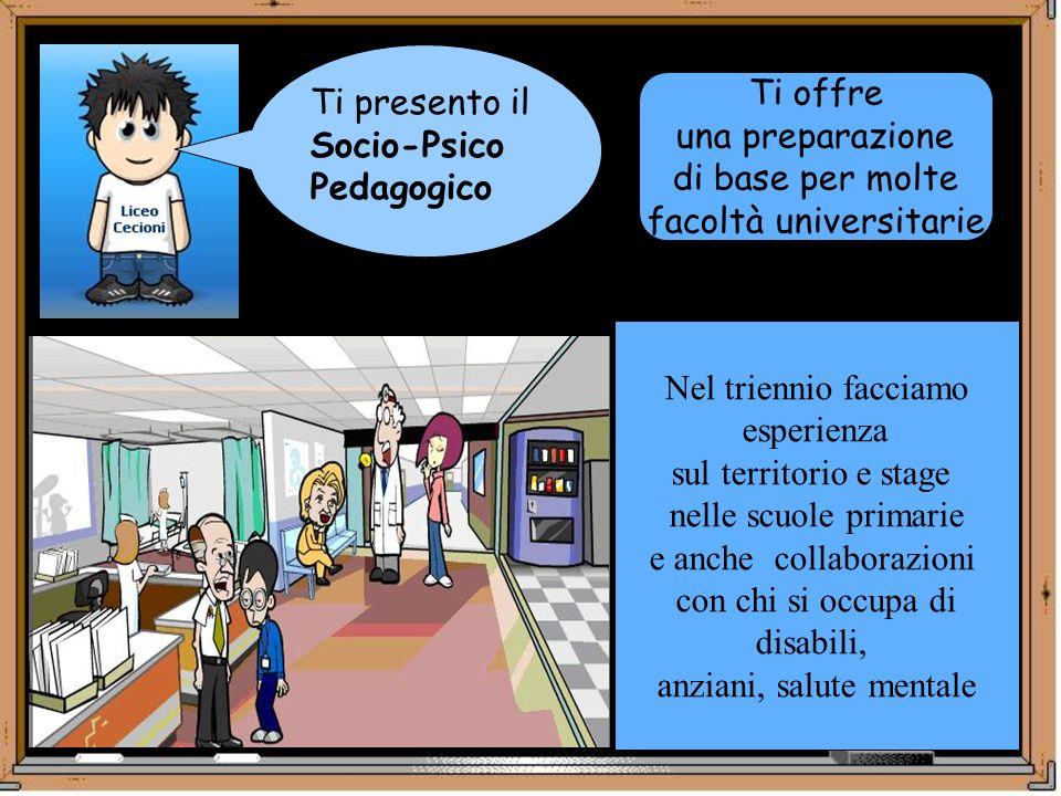 Ti presento il Socio-Psico Pedagogico Ti offre una preparazione di base per molte facoltà universitarie Nel triennio facciamo esperienza sul territori