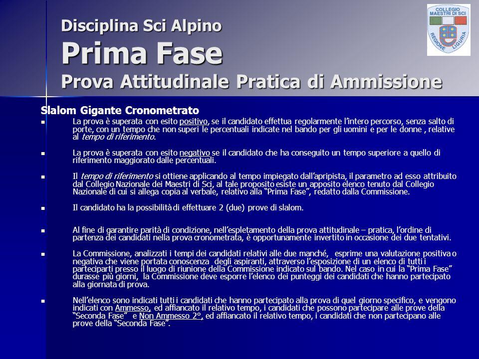 Disciplina Sci Alpino Prima Fase Prova Attitudinale Pratica di Ammissione Slalom Gigante Cronometrato La prova è superata con esito positivo, se il ca