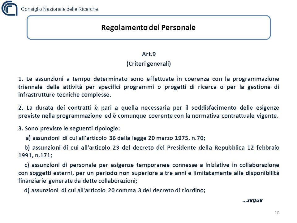 Consiglio Nazionale delle Ricerche 10 Regolamento del Personale Art.9 (Criteri generali) 1.