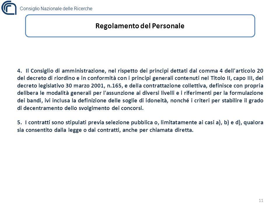 Consiglio Nazionale delle Ricerche 11 Regolamento del Personale 4.