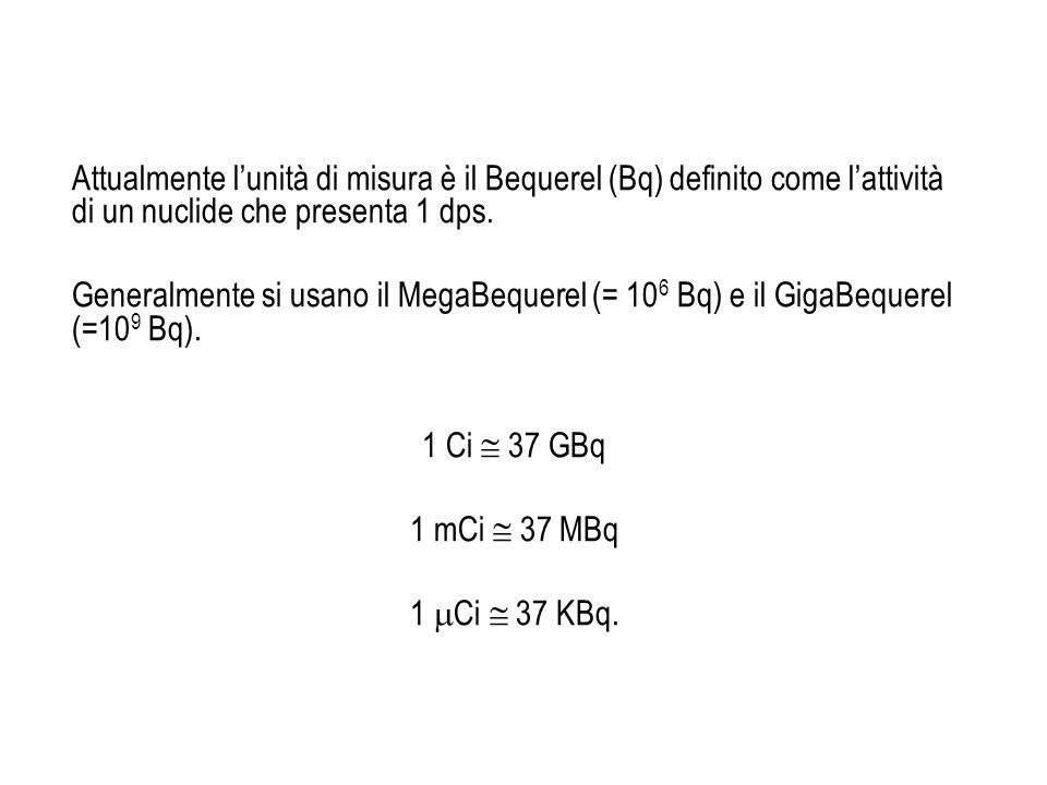 Attualmente lunità di misura è il Bequerel (Bq) definito come lattività di un nuclide che presenta 1 dps. Generalmente si usano il MegaBequerel (= 10
