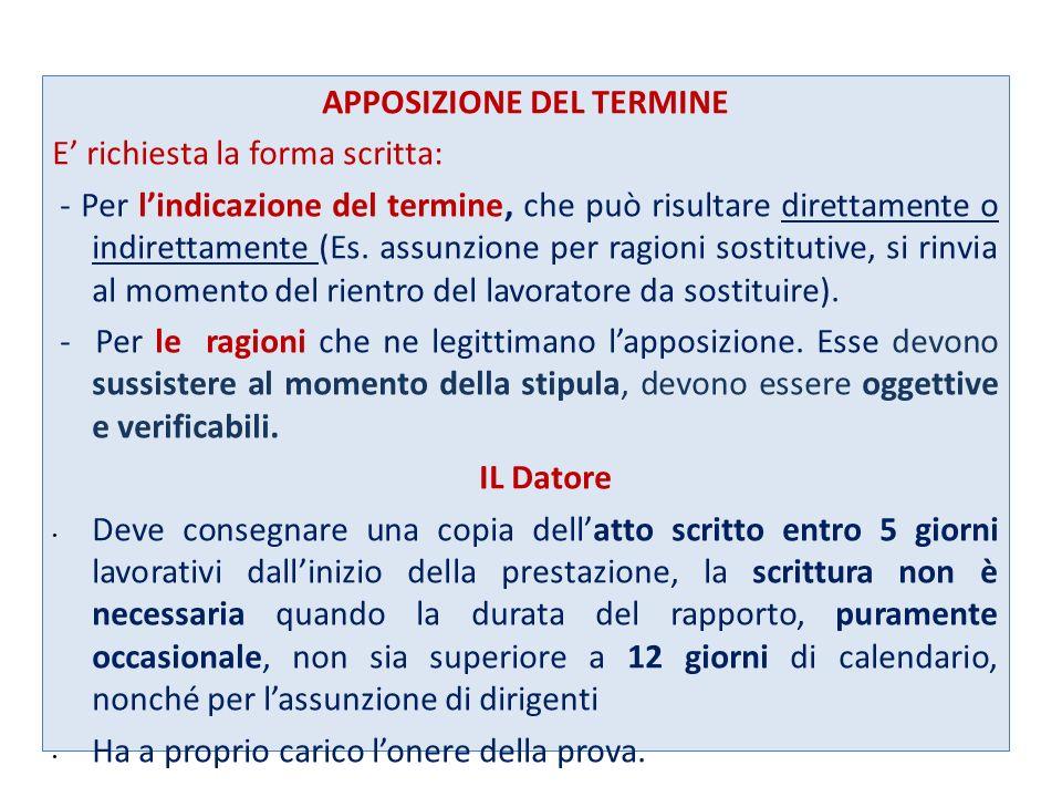 APPOSIZIONE DEL TERMINE E richiesta la forma scritta: - Per lindicazione del termine, che può risultare direttamente o indirettamente (Es. assunzione
