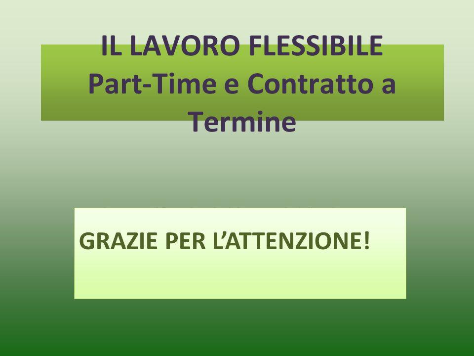 Fare clic per modificare lo stile del sottotitolo dello schema IL LAVORO FLESSIBILE Part-Time e Contratto a Termine GRAZIE PER LATTENZIONE!