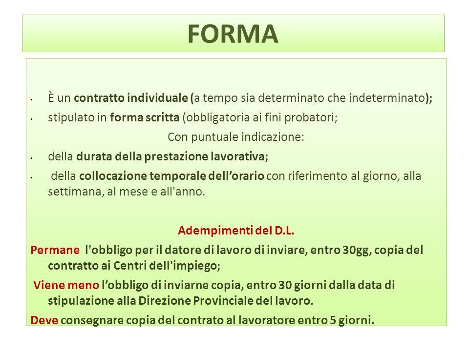 FORMA È un contratto individuale (a tempo sia determinato che indeterminato); stipulato in forma scritta (obbligatoria ai fini probatori; Con puntuale