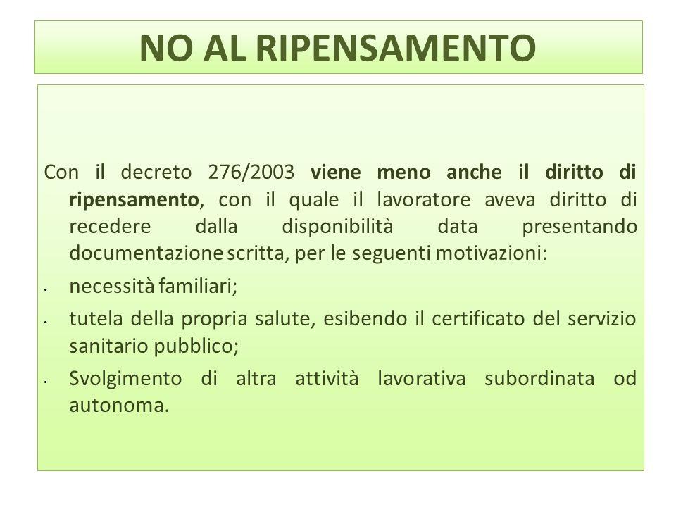 NO AL RIPENSAMENTO Con il decreto 276/2003 viene meno anche il diritto di ripensamento, con il quale il lavoratore aveva diritto di recedere dalla dis