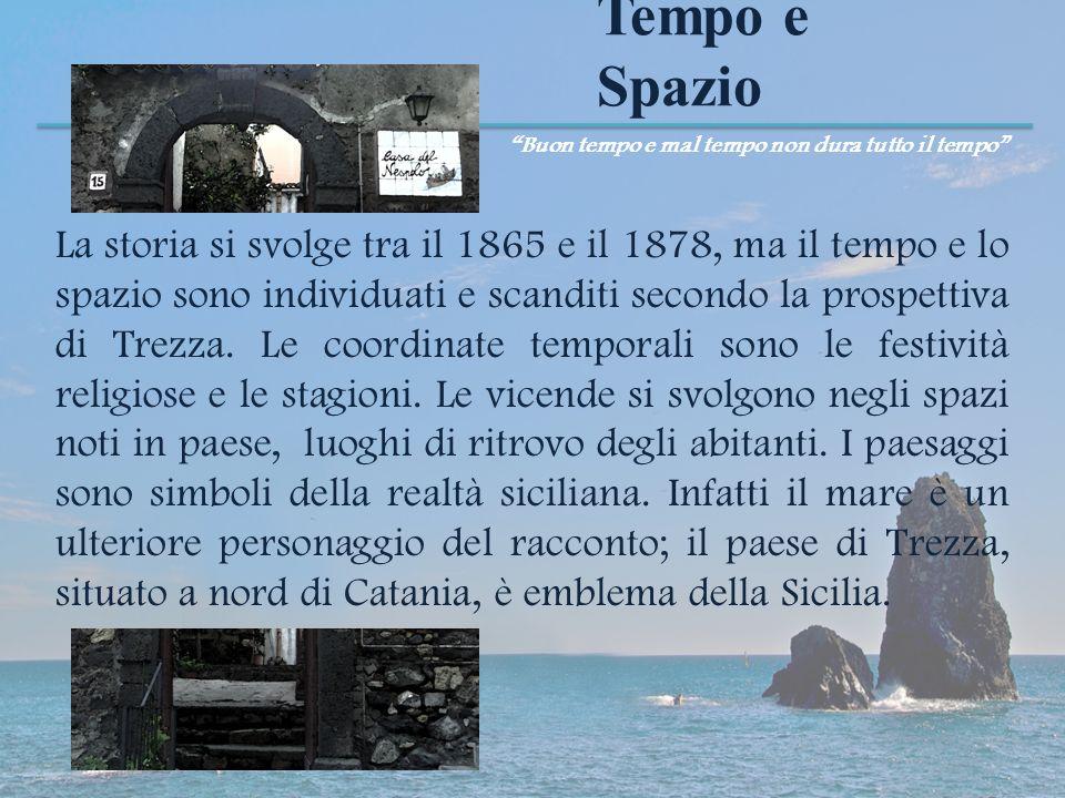 Tempo e Spazio La storia si svolge tra il 1865 e il 1878, ma il tempo e lo spazio sono individuati e scanditi secondo la prospettiva di Trezza. Le coo