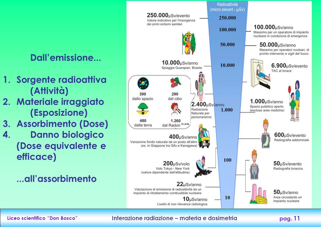 Liceo scientifico Don Bosco Interazione radiazione – materia e dosimetria pag. 11 Dallemissione... 1.Sorgente radioattiva (Attività) 2.Materiale irrag