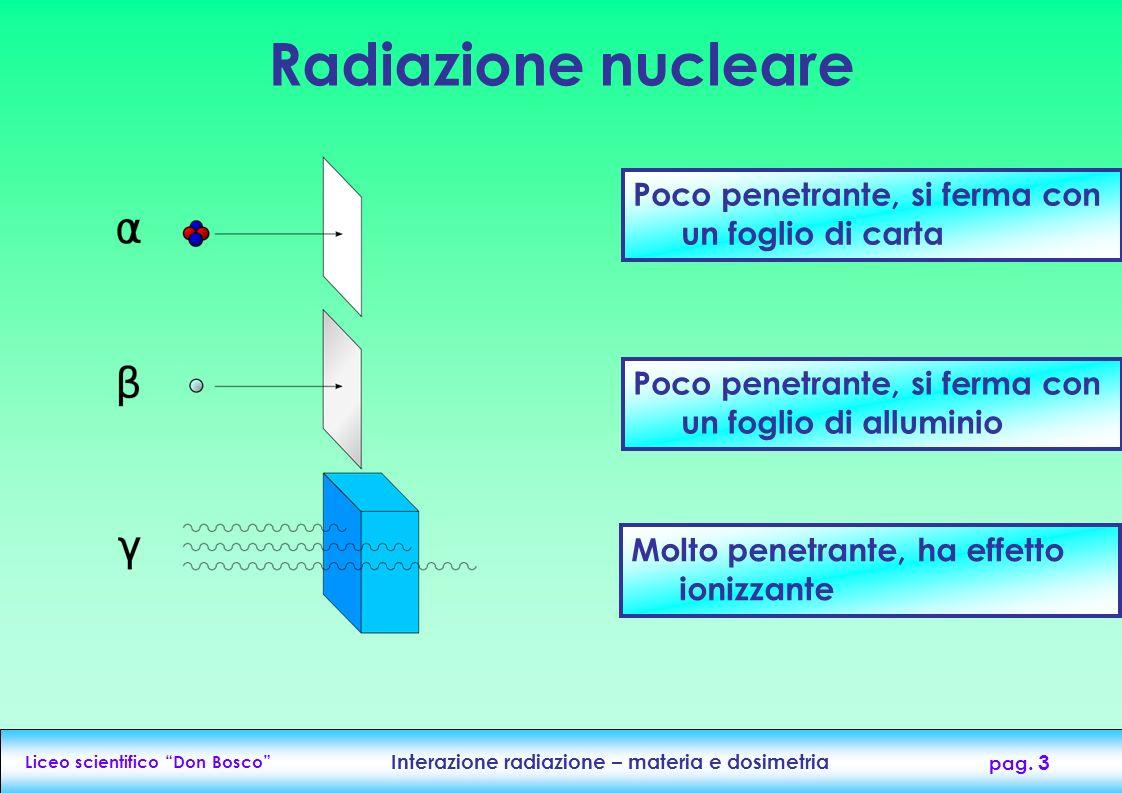 Liceo scientifico Don Bosco Interazione radiazione – materia e dosimetria pag. 3 Poco penetrante, si ferma con un foglio di carta Poco penetrante, si