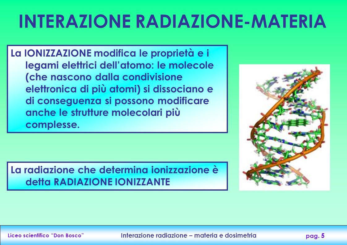 Liceo scientifico Don Bosco Interazione radiazione – materia e dosimetria pag. 5 La IONIZZAZIONE modifica le proprietà e i legami elettrici dellatomo: