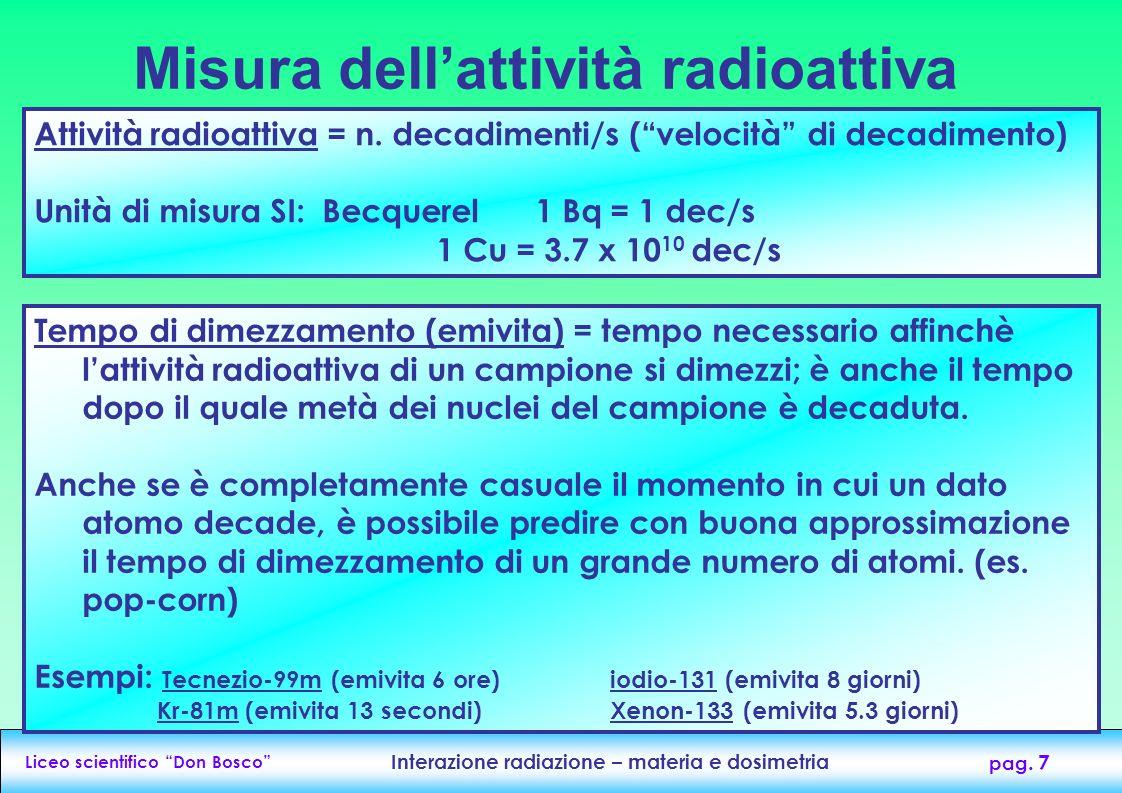 Liceo scientifico Don Bosco Interazione radiazione – materia e dosimetria pag. 7 Misura dellattività radioattiva Attività radioattiva = n. decadimenti