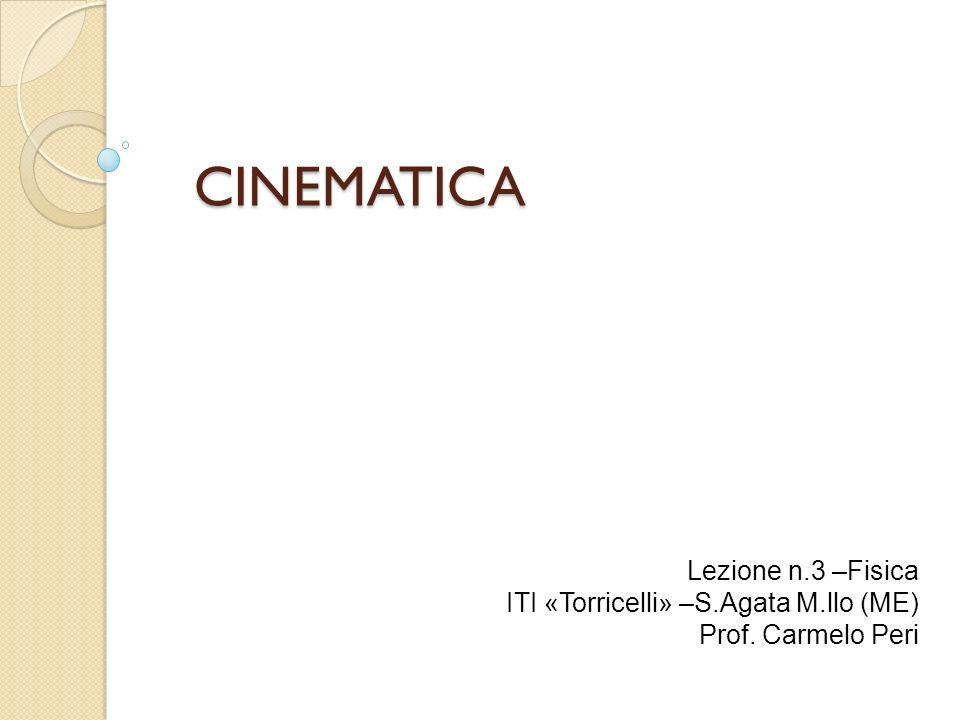 CINEMATICA Lezione n.3 –Fisica ITI «Torricelli» –S.Agata M.llo (ME) Prof. Carmelo Peri