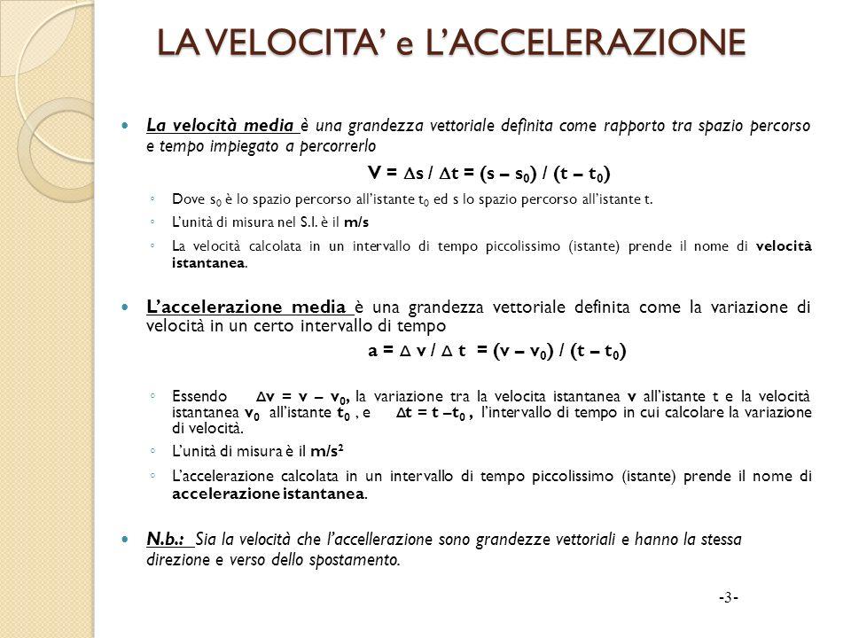 LA VELOCITA e LACCELERAZIONE La velocità media è una grandezza vettoriale definita come rapporto tra spazio percorso e tempo impiegato a percorrerlo V