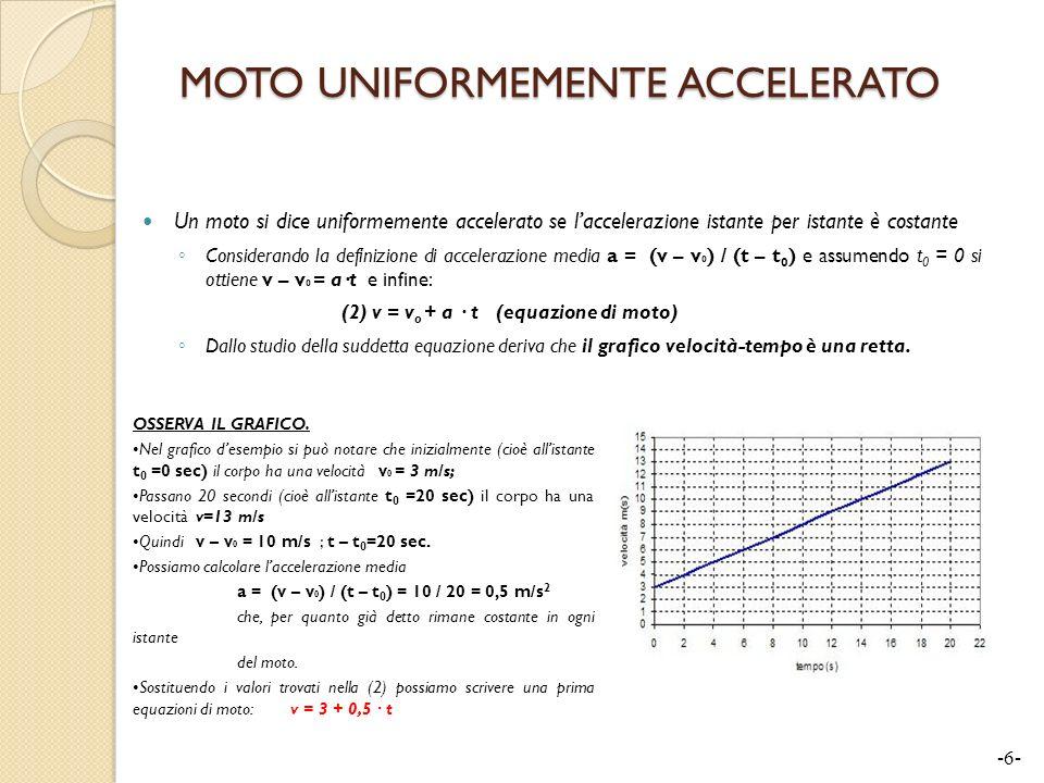 MOTO UNIFORMEMENTE ACCELERATO Un moto si dice uniformemente accelerato se laccelerazione istante per istante è costante Considerando la definizione di