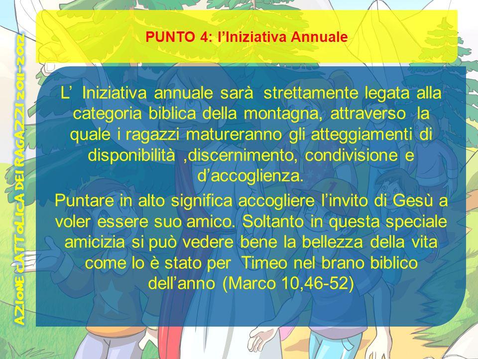 PUNTO 4: lIniziativa Annuale L Iniziativa annuale sarà strettamente legata alla categoria biblica della montagna, attraverso la quale i ragazzi mature