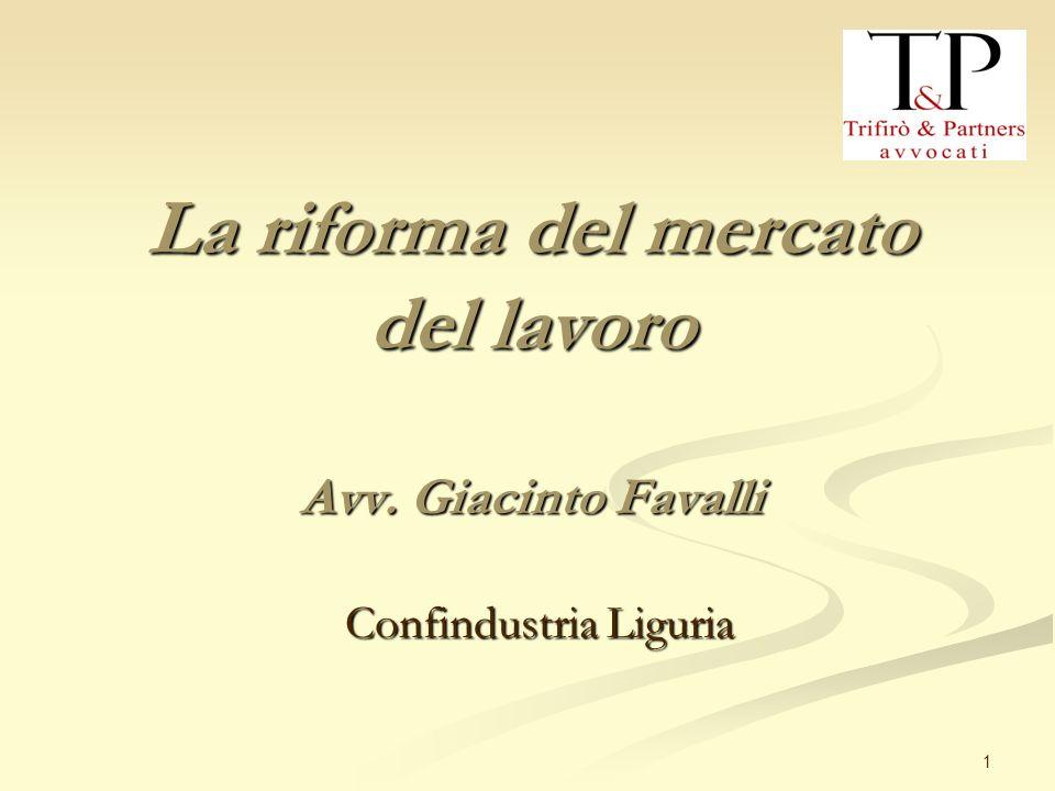 1 La riforma del mercato del lavoro Avv. Giacinto Favalli Confindustria Liguria