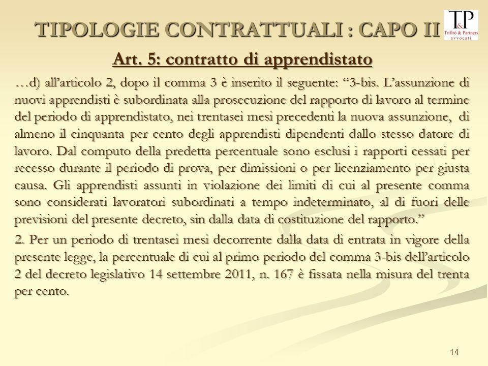 14 Art. 5: contratto di apprendistato …d) allarticolo 2, dopo il comma 3 è inserito il seguente: 3-bis. Lassunzione di nuovi apprendisti è subordinata
