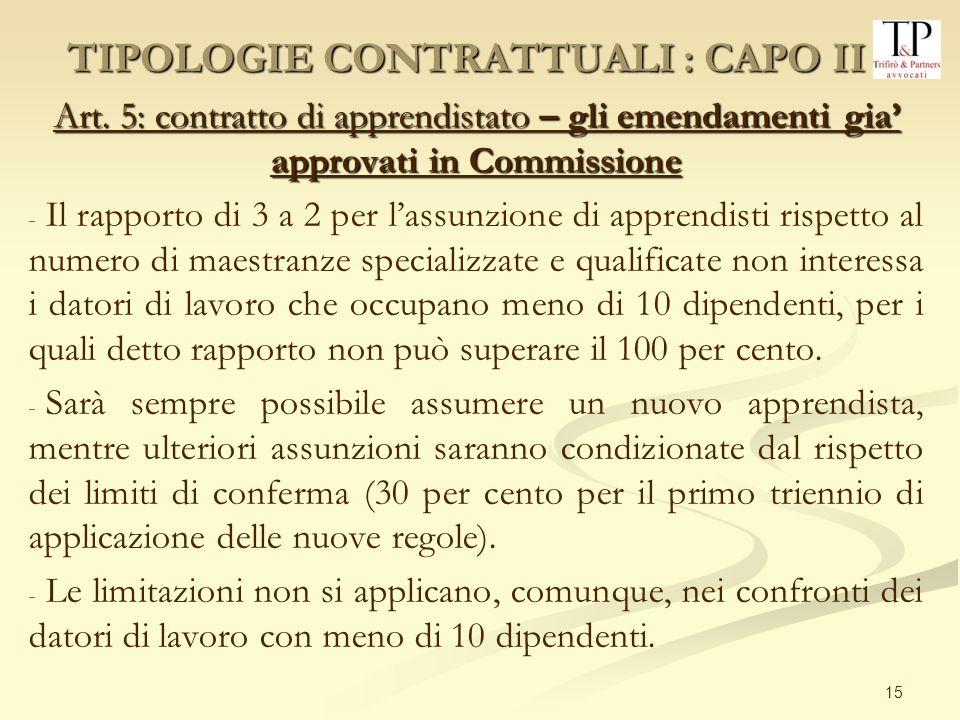 15 Art. 5: contratto di apprendistato – gli emendamenti gia approvati in Commissione - - Il rapporto di 3 a 2 per lassunzione di apprendisti rispetto