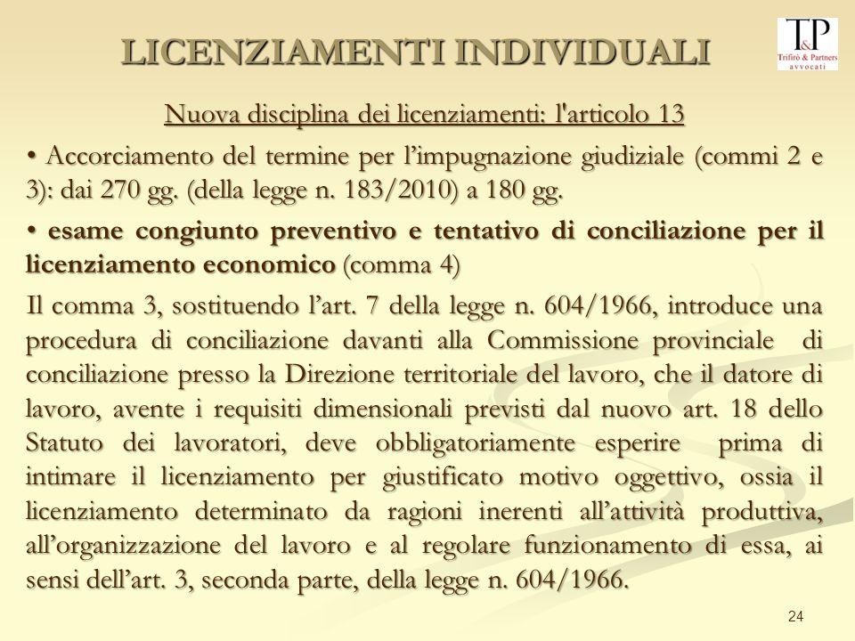 24 Nuova disciplina dei licenziamenti: l'articolo 13 Accorciamento del termine per limpugnazione giudiziale (commi 2 e 3): dai 270 gg. (della legge n.
