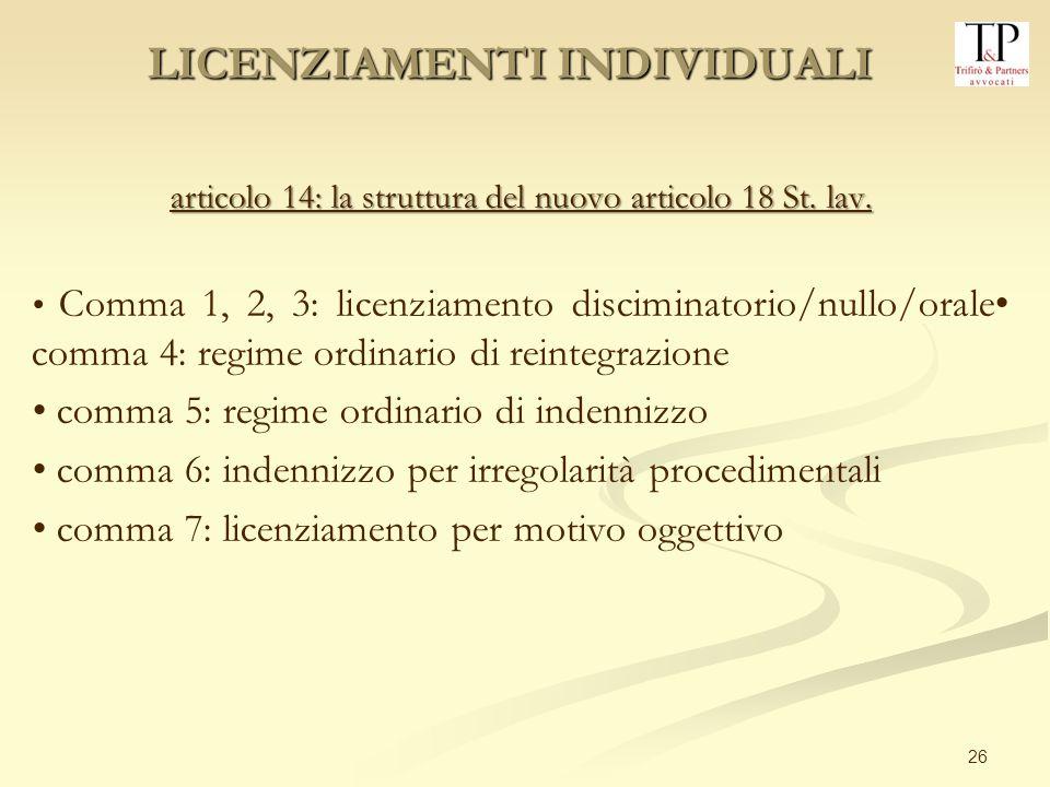 26 articolo 14: la struttura del nuovo articolo 18 St. lav. Comma 1, 2, 3: licenziamento disciminatorio/nullo/orale comma 4: regime ordinario di reint