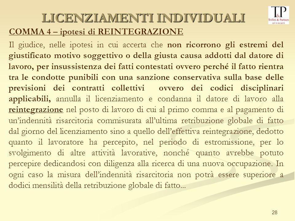 28 COMMA 4 – ipotesi di REINTEGRAZIONE Il giudice, nelle ipotesi in cui accerta che non ricorrono gli estremi del giustificato motivo soggettivo o del