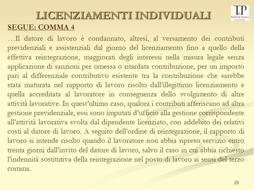 29 SEGUE: COMMA 4 …Il datore di lavoro è condannato, altresì, al versamento dei contributi previdenziali e assistenziali dal giorno del licenziamento
