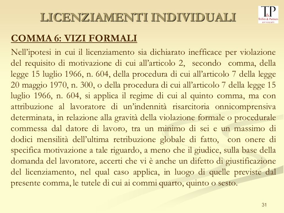 31 COMMA 6: VIZI FORMALI Nellipotesi in cui il licenziamento sia dichiarato inefficace per violazione del requisito di motivazione di cui allarticolo