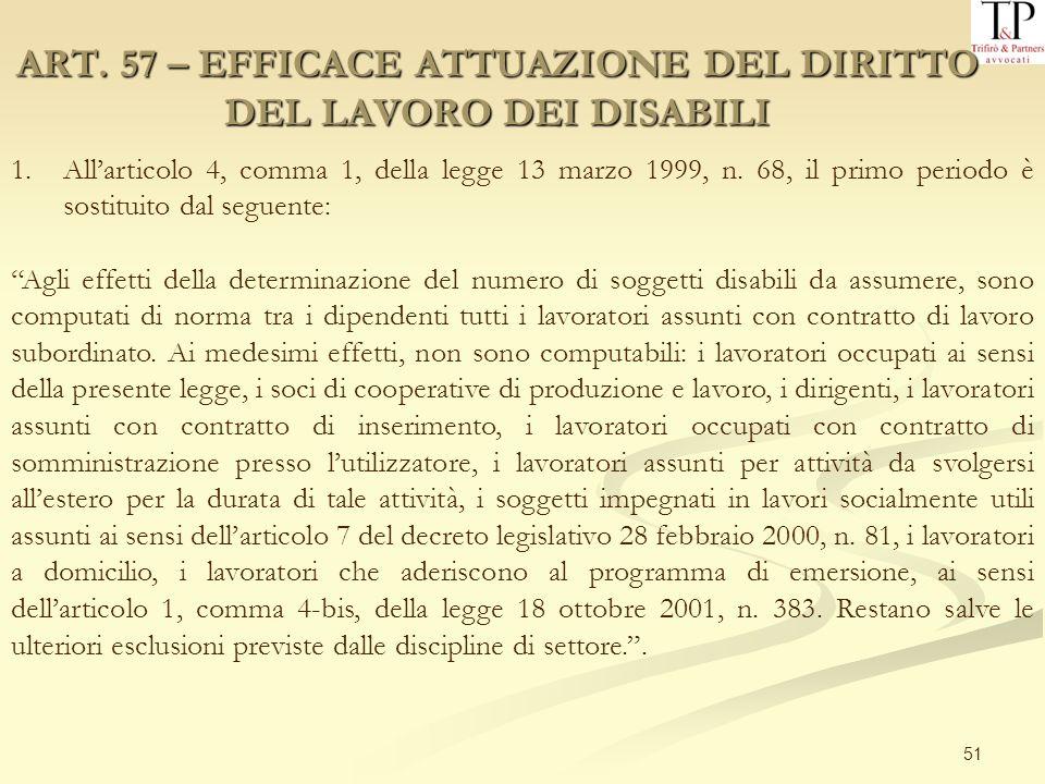 51 ART. 57 – EFFICACE ATTUAZIONE DEL DIRITTO DEL LAVORO DEI DISABILI 1.Allarticolo 4, comma 1, della legge 13 marzo 1999, n. 68, il primo periodo è so